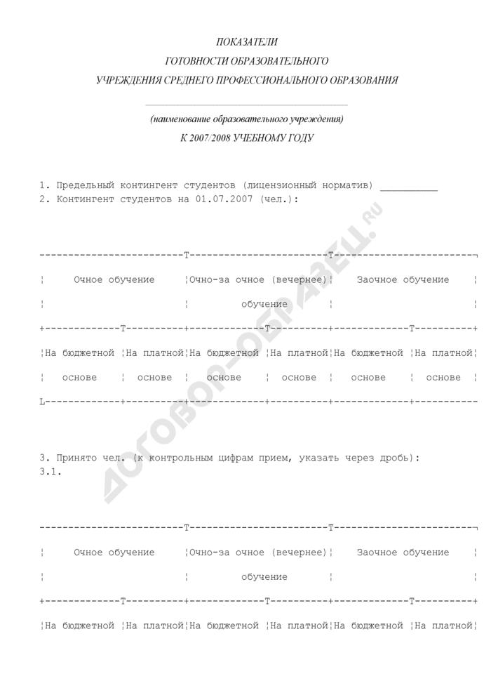 Показатели готовности образовательного учреждения среднего профессионального образования к 2007/2008 учебному году. Страница 1
