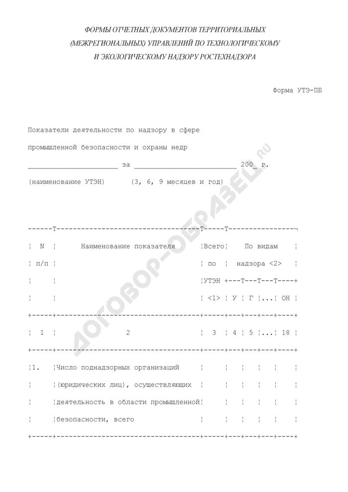 Показатели деятельности по надзору в сфере промышленной безопасности и охраны недр в территориальных (межрегиональных) управлениях по технологическому и экологическому надзору Ростехнадзора. Форма N УТЭ-ПБ. Страница 1