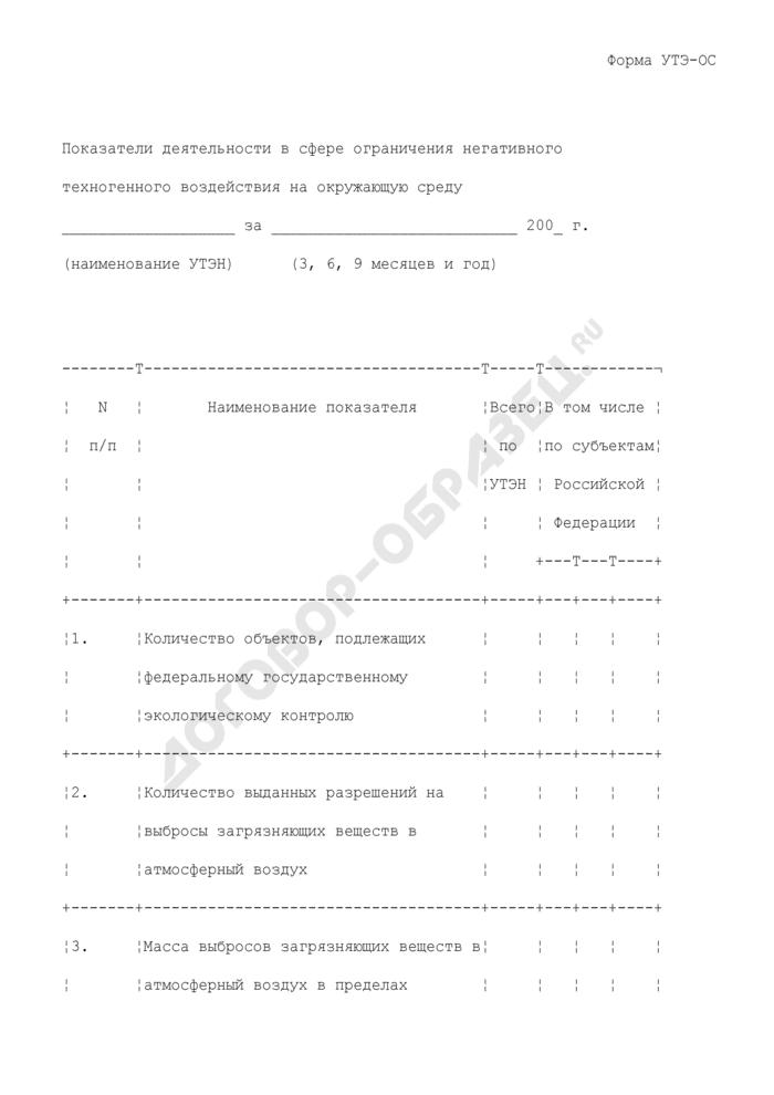 Показатели деятельности управления по технологическому и экологическому надзору Ростехнадзора в сфере ограничения негативного техногенного воздействия на окружающую среду. Форма N УТЭ-ОС. Страница 1
