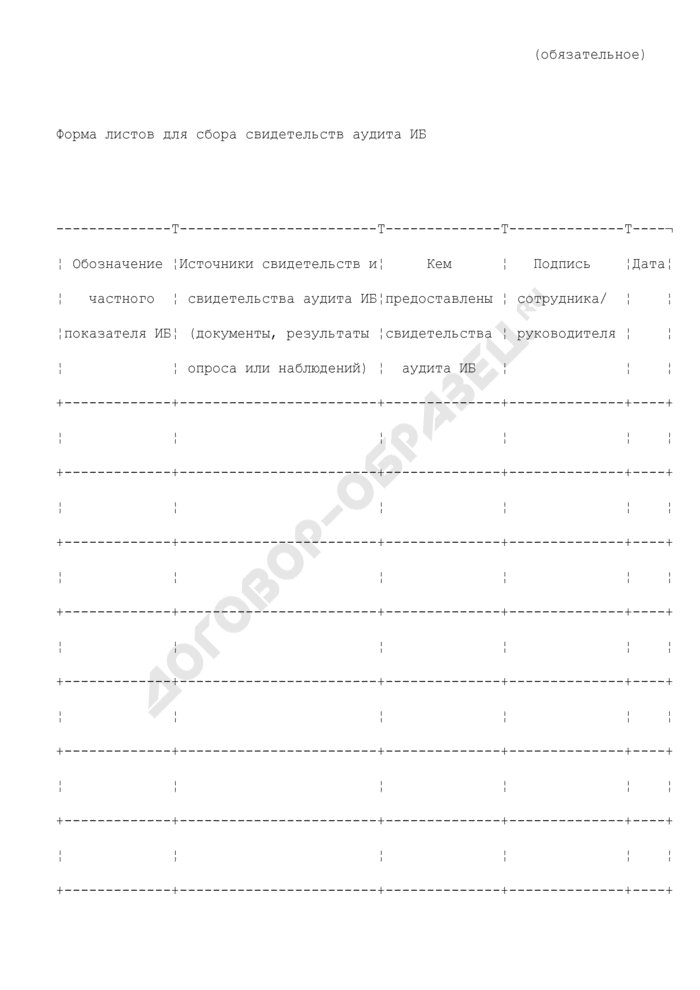 Показатели информационной безопасности. Форма листов для сбора свидетельств аудита ИБ (обязательная форма). Страница 1