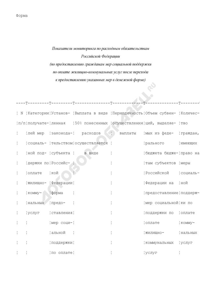 Показатели мониторинга по расходным обязательствам Российской Федерации (по предоставлению гражданам мер социальной поддержки по оплате жилищно-коммунальных услуг после перехода к предоставлению указанных мер в денежной форме) (форма). Страница 1
