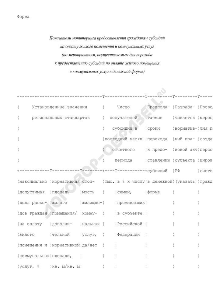 Показатели мониторинга предоставления гражданам субсидий на оплату жилого помещения и коммунальных услуг (по мероприятиям, осуществляемым для перехода к предоставлению субсидий по оплате жилого помещения и коммунальных услуг в денежной форме) (форма). Страница 1