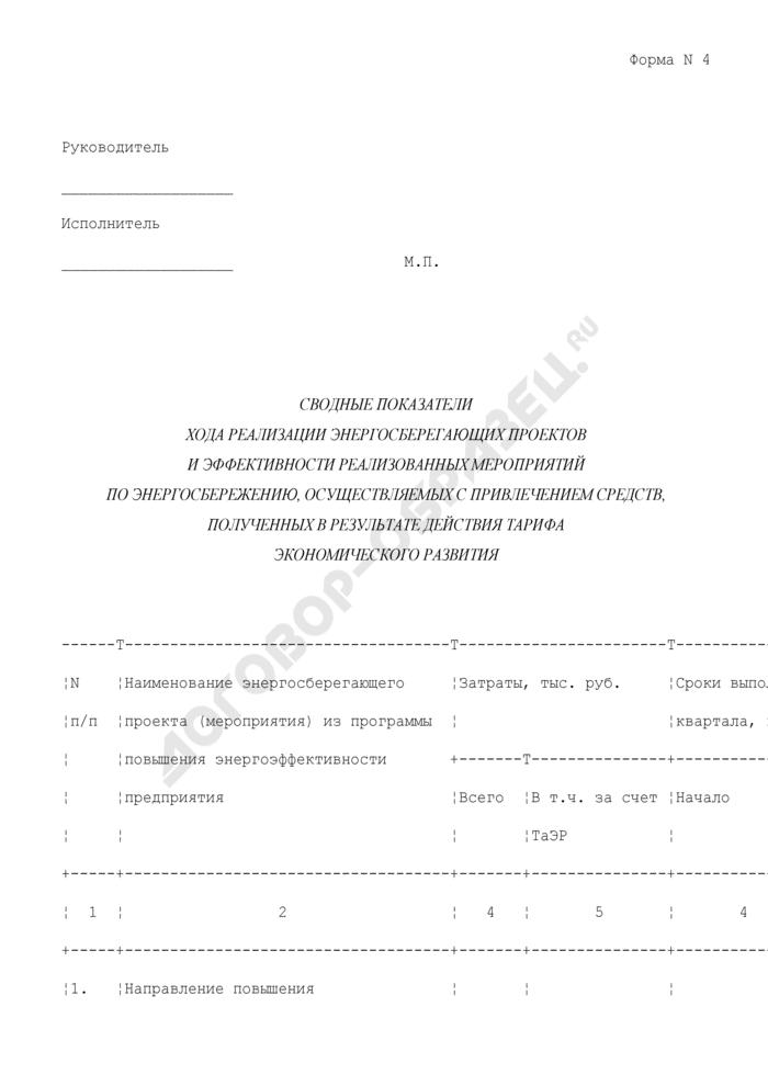 Сводные показатели хода реализации энергосберегающих проектов и эффективности реализованных мероприятий по энергосбережению, осуществляемых с привлечением средств, полученных в результате действия тарифа экономического развития в городе Москве. Форма N 4. Страница 1