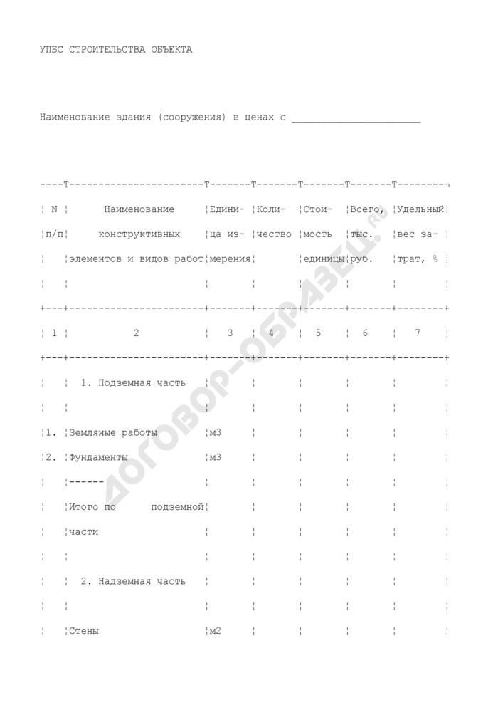 Укрупненные показатели базисной стоимости строительства объекта. Страница 1