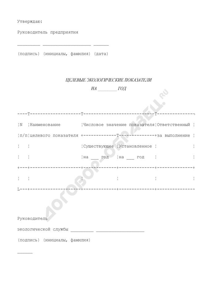 Целевые экологические показатели системы управления окружающей средой на лакокрасочных предприятиях города Москвы. Страница 1