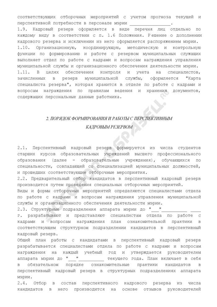 Положение о порядке формирования кадрового резерва на муниципальной службе. Страница 3