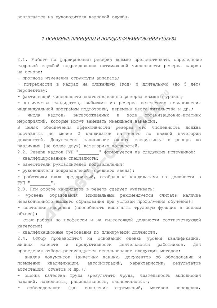 Положение о формировании и работе с резервом кадров государственного унитарного предприятия. Страница 2