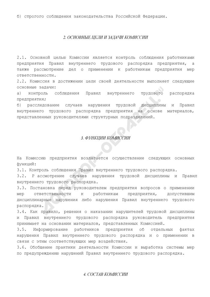 Положение о комиссии по контролю соблюдения правил внутреннего трудового распорядка предприятия. Страница 2