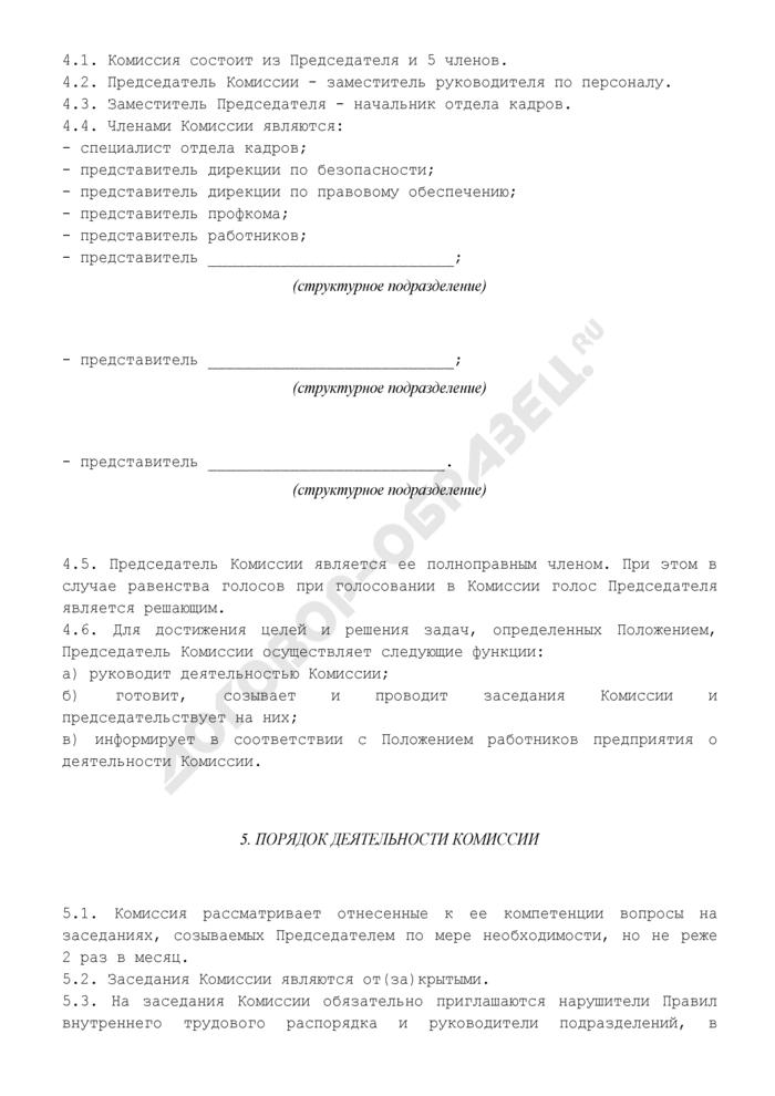Положение о комиссии по контролю соблюдения правил внутреннего трудового распорядка предприятия. Страница 3