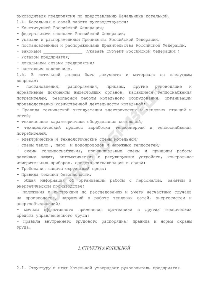 Положение о котельной предприятия. Страница 2