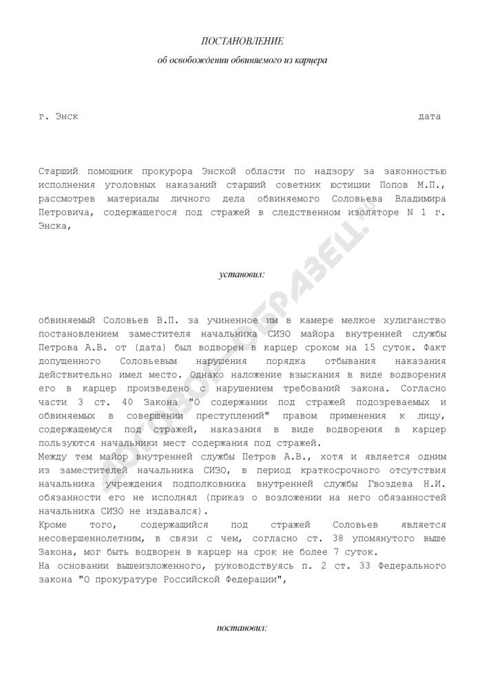Постановление об освобождении обвиняемого из карцера (образец). Страница 1