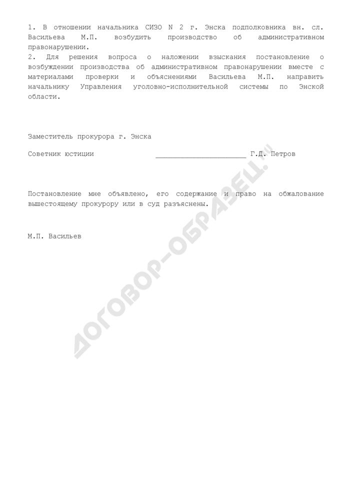 Постановление о возбуждении производства об административном правонарушении в отношении лиц, содержащихся под стражей в следственном изоляторе (образец). Страница 2
