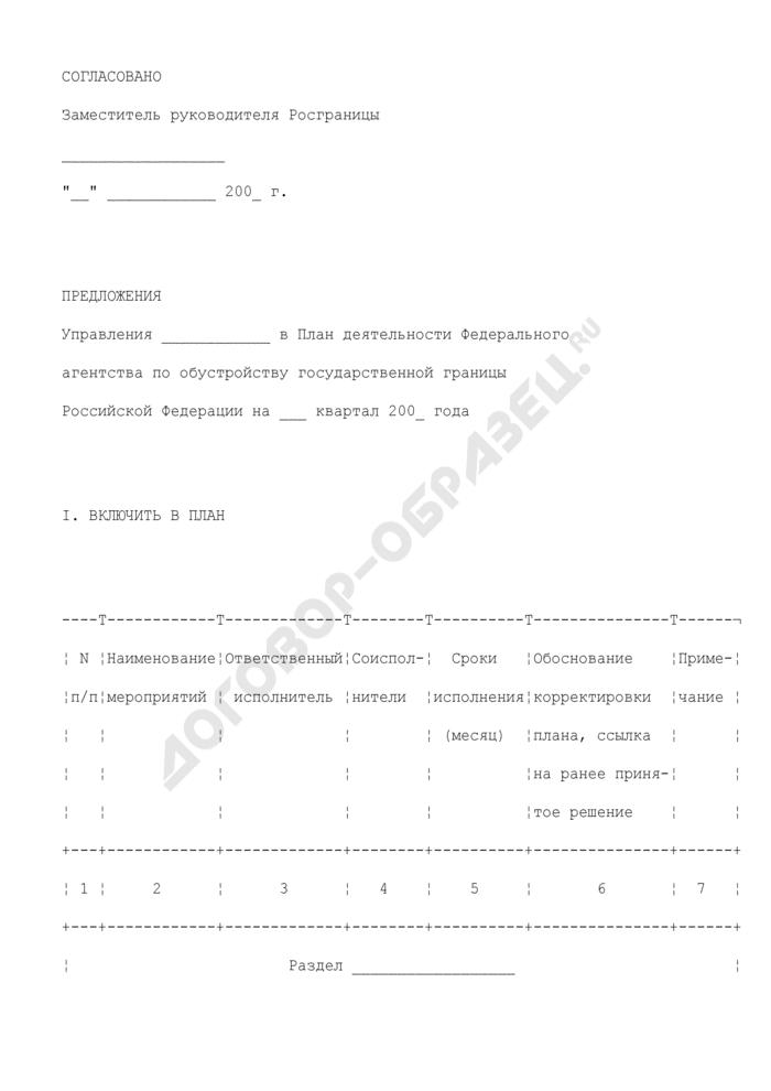 Предложения Управления в план деятельности Федерального агентства по обустройству государственной границы Российской Федерации на квартал. Страница 1