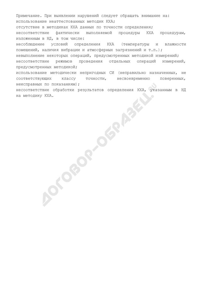 Замечания и предложения комиссии по аттестации подразделения энергетического предприятия, выполняющего количественный химический анализ (рекомендуемая форма). Страница 2