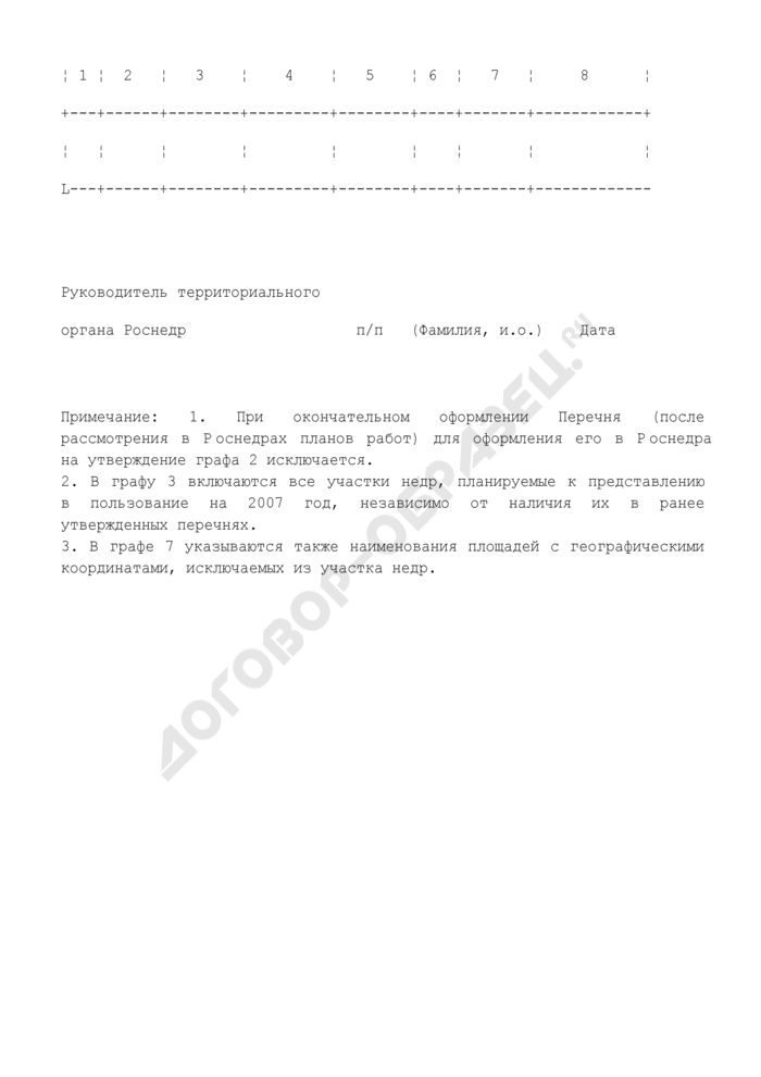 Предложения к формированию перечня участков недр субъекта РФ, планируемых к предоставлению в пользование с целью геологического изучения за счет средств недропользователей. Страница 2