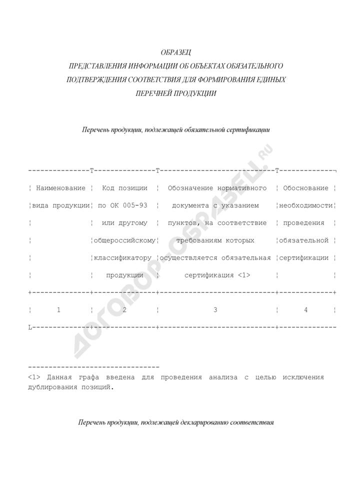 Образец представления информации об объектах обязательного подтверждения соответствия для формирования единых перечней продукции, подлежащей обязательной сертификации. Страница 1