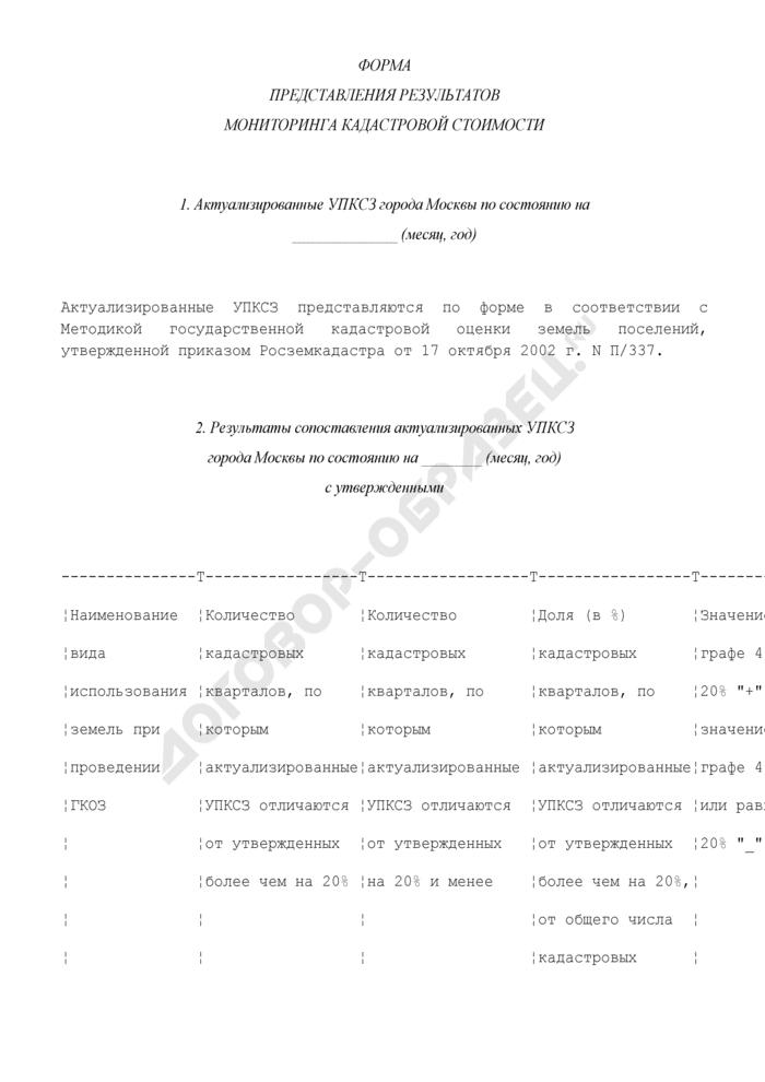Форма представления результатов мониторинга кадастровой стоимости земель города Москвы. Страница 1
