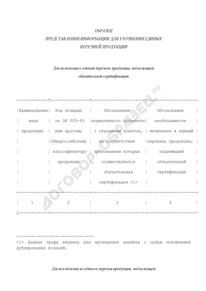 Образец представления информации для уточнения единых перечней продукции, подлежащей обязательной сертификации. Страница 1