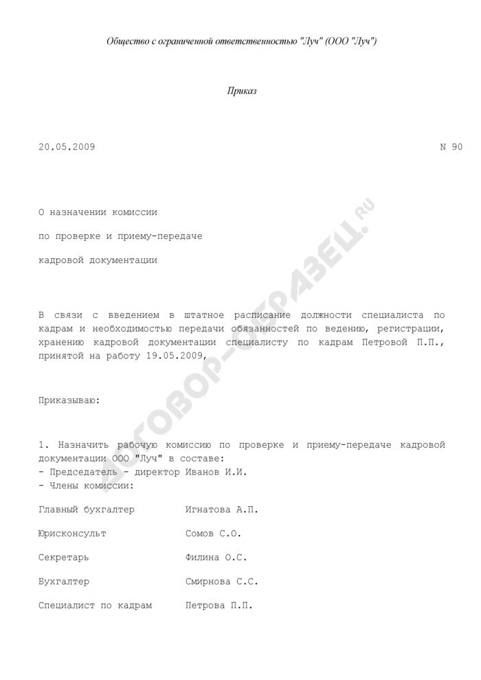 Приказ о назначении комиссии по проверке и приему-передаче кадровой документации (пример). Страница 1