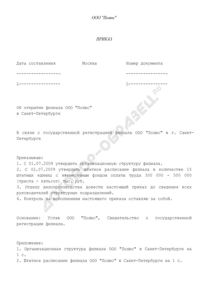 Приказ об открытии филиала организации (пример). Страница 1