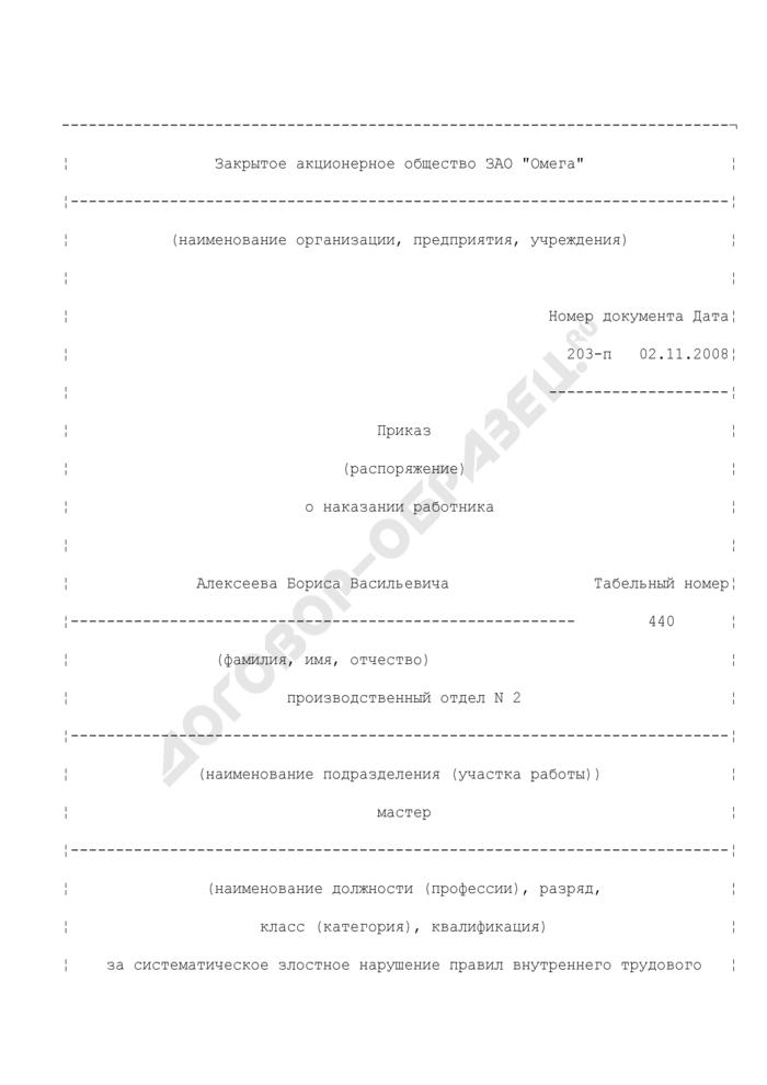Пример формулировки приказа о наказании работника. Страница 1