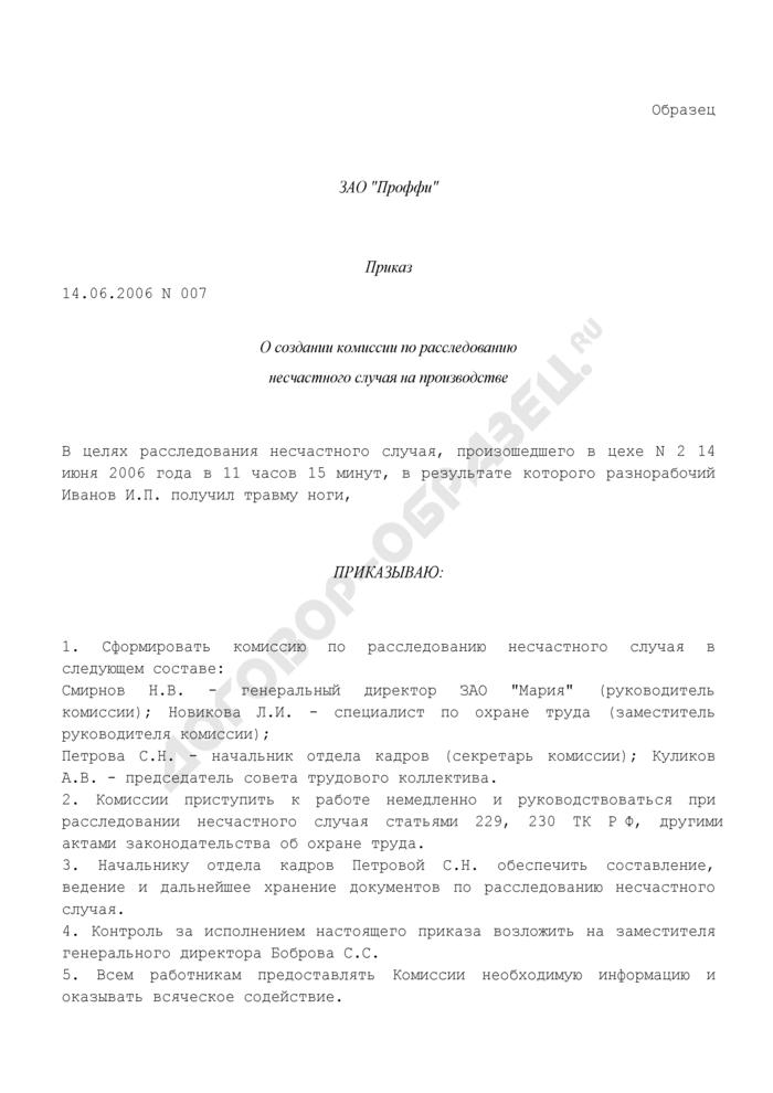 Образец приказа о создании комиссии по расследованию несчастного случая на производстве. Страница 1