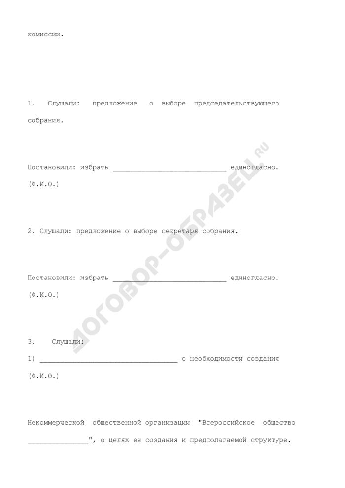 Протокол учредительного собрания о создании некоммерческой общественной организации. Страница 2