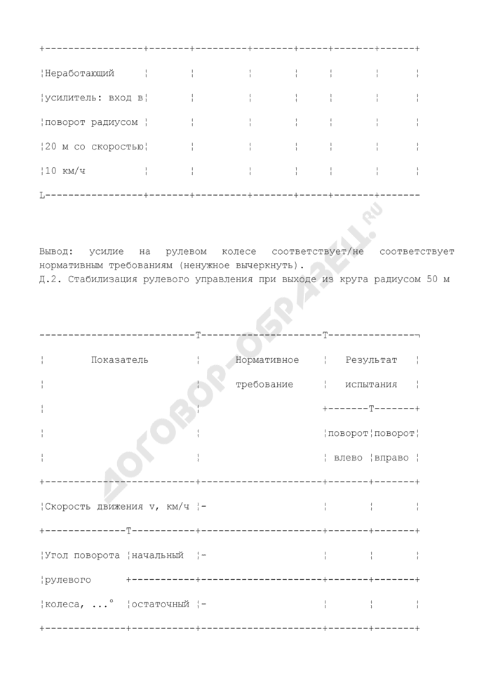 Протоколы испытаний автотранспортного средства (рекомендуемая форма). Страница 2