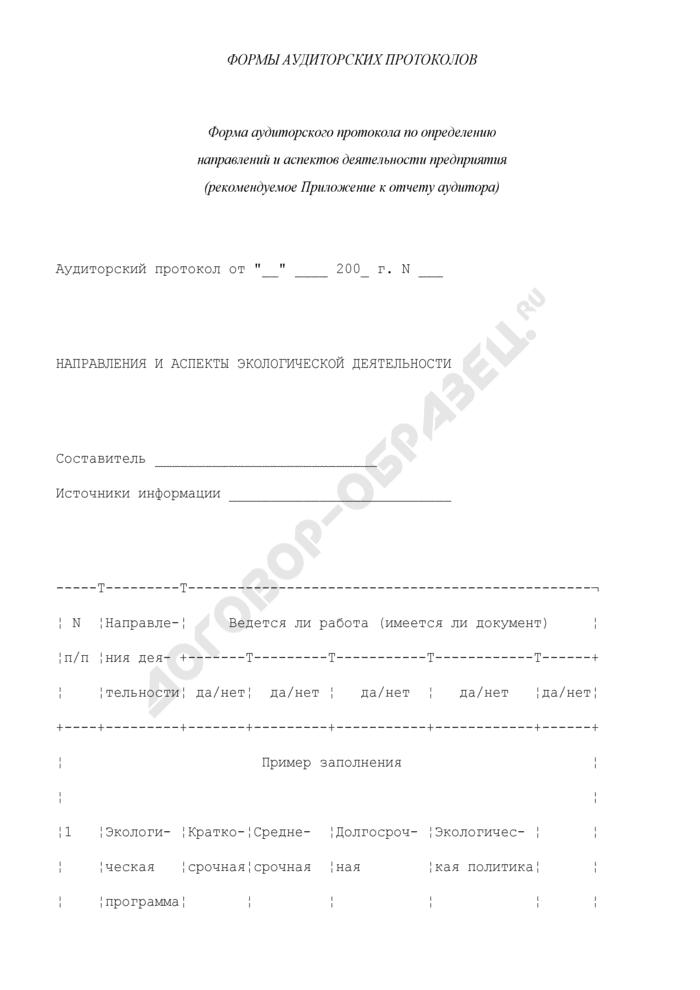 Форма аудиторского протокола по определению направлений и аспектов деятельности предприятия (рекомендуемое приложение к отчету аудитора). Страница 1