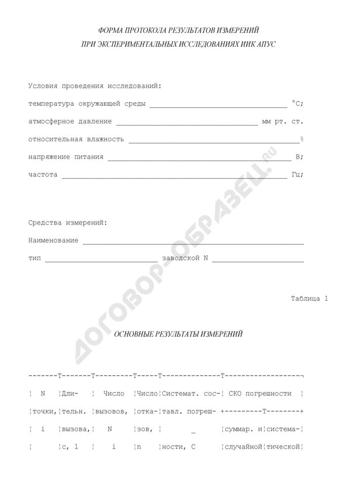 Форма протокола результатов измерений при экспериментальных исследованиях ИИК АПУС. Страница 1
