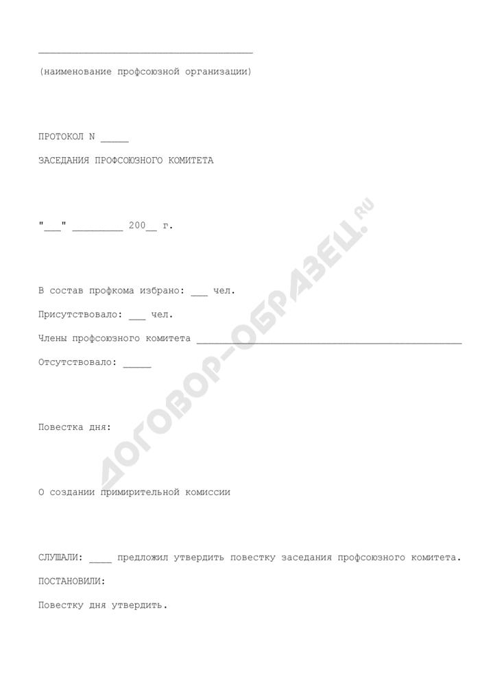 Протокол заседания профсоюзного комитета по поводу создания примирительной комиссии. Страница 1
