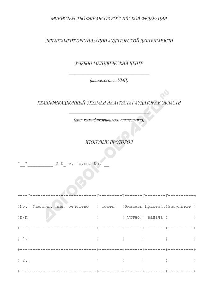 Итоговый протокол квалификационного экзамена на аттестат аудитора. Страница 1