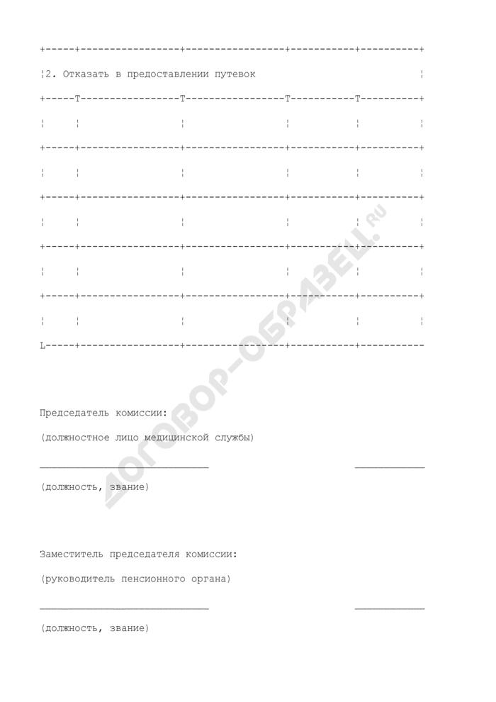 Протокол заседания санаторно-курортной комиссии по рассмотрению заявлений пенсионеров о выделении им путевок в санатории и дома отдыха. Страница 3