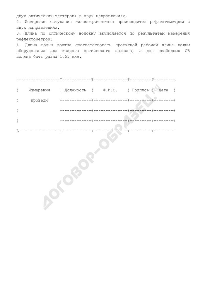 Протокол измерения затухания оптических волокон на элементарном кабельном участке. Страница 3
