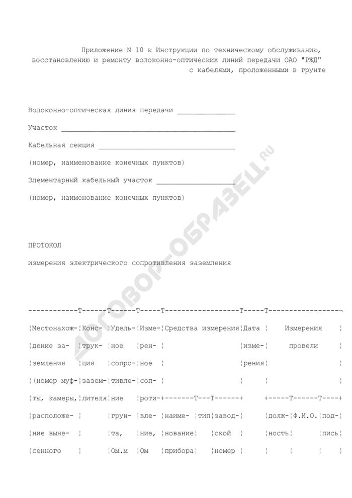 Протокол измерения электрического сопротивления заземления. Страница 1