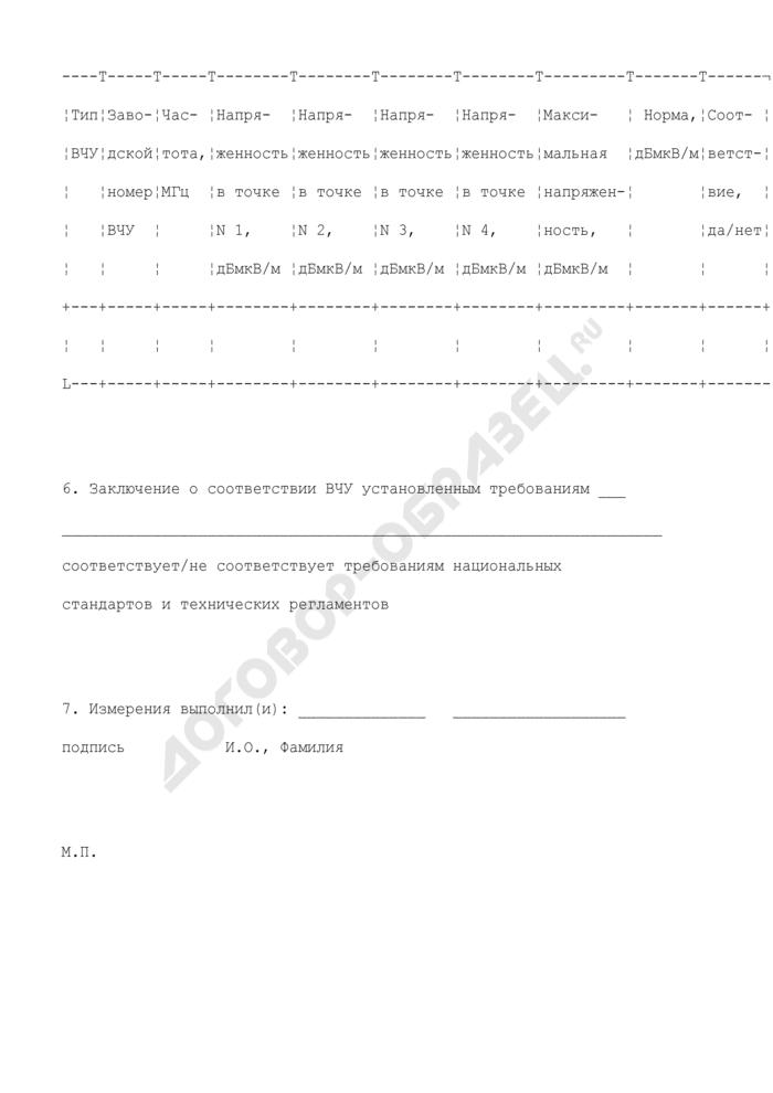 Образец протокола измерений параметров излучения высокочастотных устройств. Страница 3