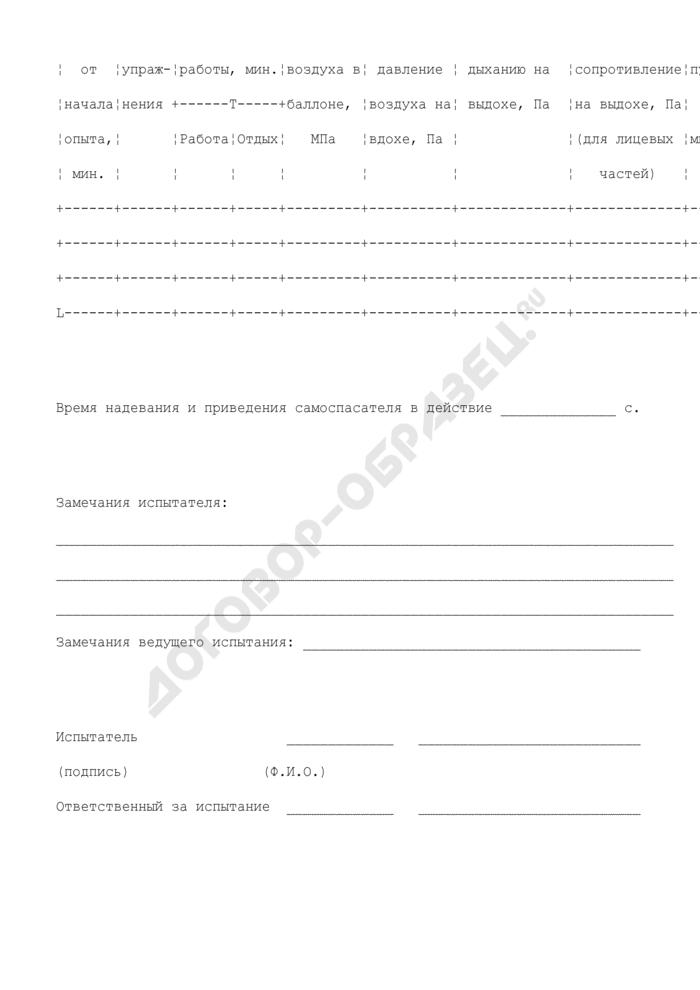 Протокол испытания самоспасателя с участием испытателей-добровольцев. Страница 3