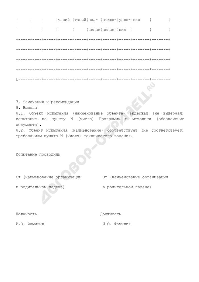 Протокол испытания объекта на соответствие требованиям технического задания государственного контракта на выполнение научно-исследовательской работы. Страница 2