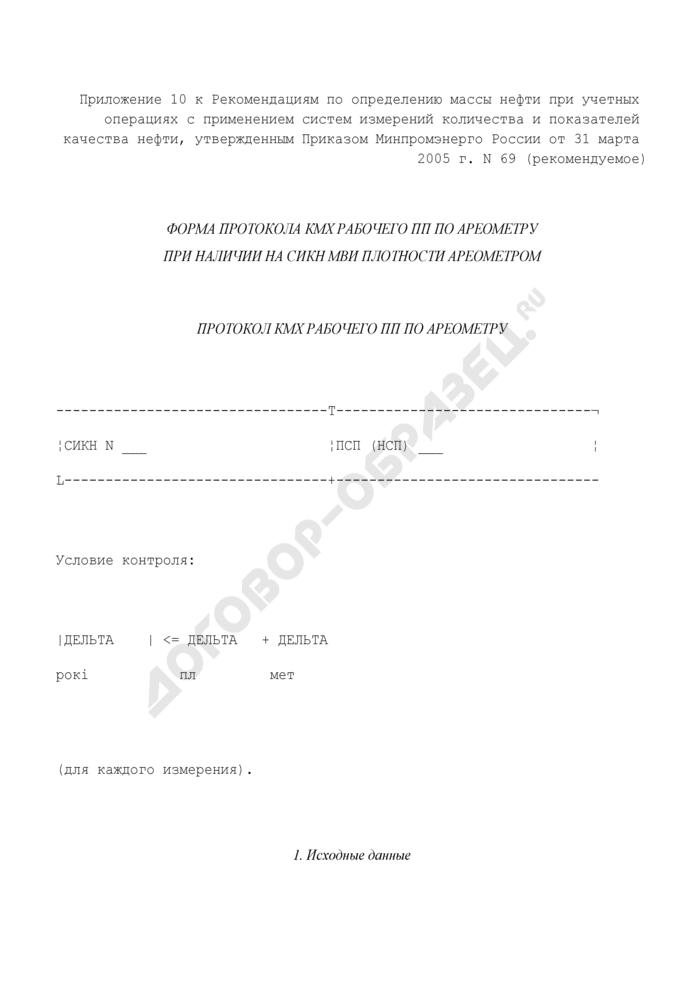 Протокол контроля метрологических характеристик рабочего преобразователя плотности по ареометру (рекомендуемая форма). Страница 1