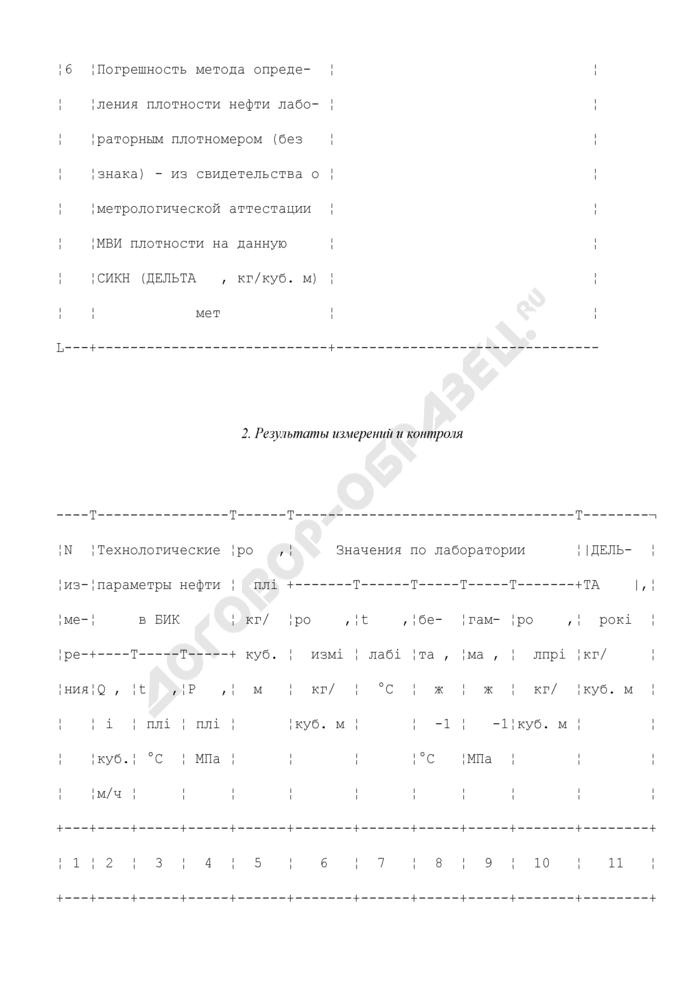 Протокол контроля метрологических характеристик рабочего преобразователя плотности по лабораторному плотномеру (рекомендуемая форма). Страница 3