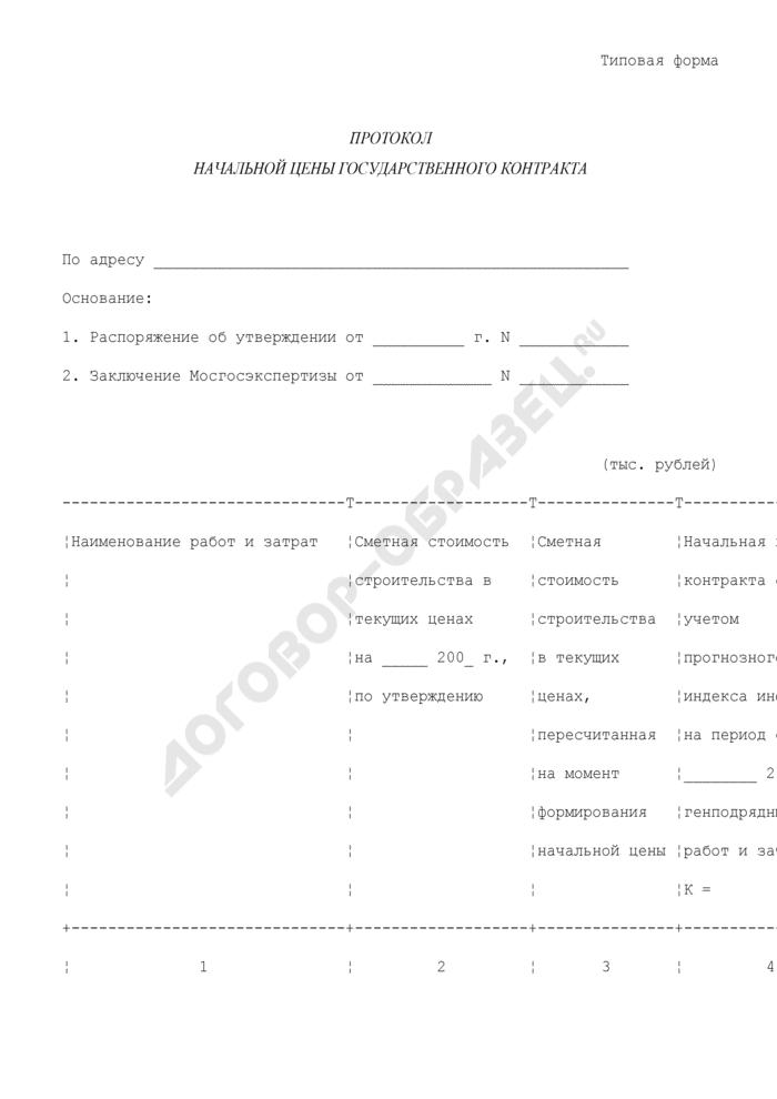Протокол начальной цены государственного контракта на строительную продукцию (типовая форма). Страница 1