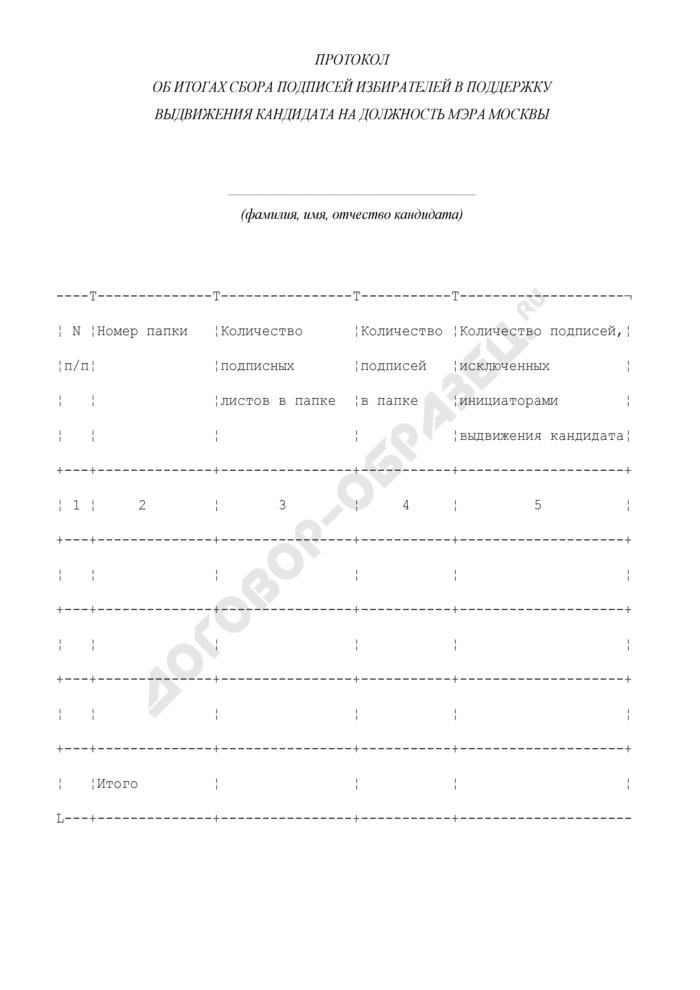 Протокол об итогах сбора подписей избирателей в поддержку выдвижения кандидата на должность Мэра Москвы. Страница 1