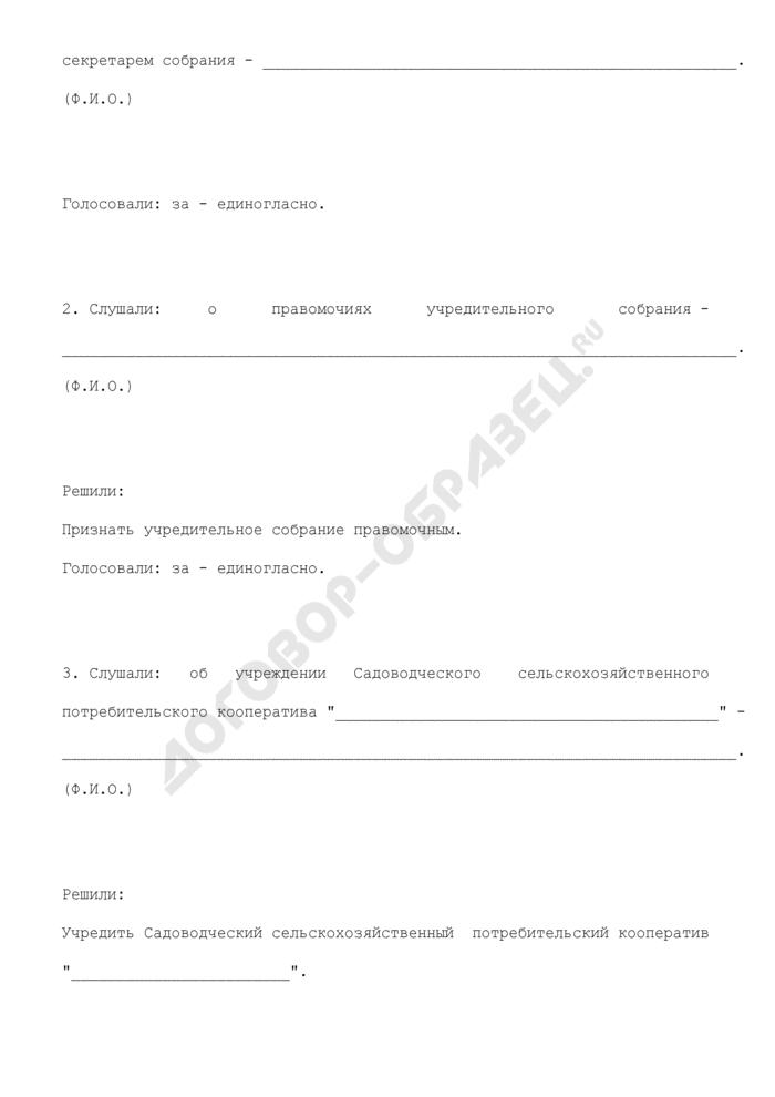 Протокол общего собрания учредителей садоводческого сельскохозяйственного потребительского кооператива об утверждении устава кооператива и правомочий учредительного собрания. Страница 3