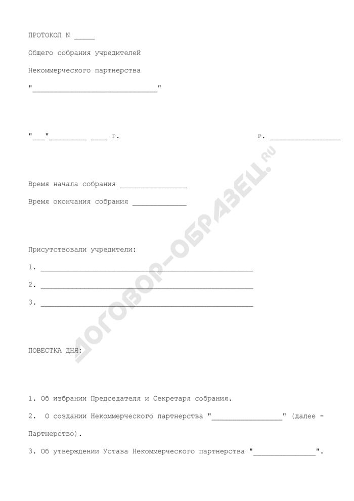 Протокол общего собрания учредителей о создании некоммерческого партнерства. Страница 1