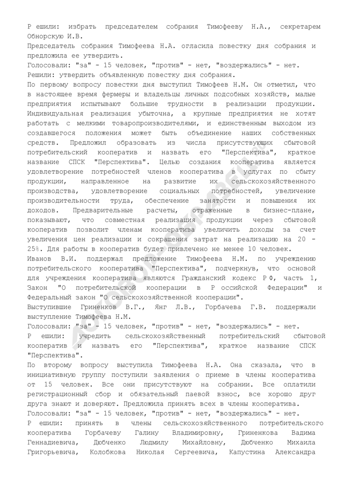 Протокол общего организационного собрания учредителей сельскохозяйственного потребительского сбытового кооператива (пример оформления). Страница 2