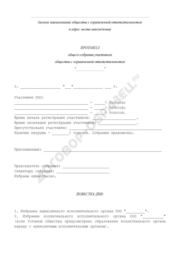 Протокол общего собрания участников общества с ограниченной ответственностью по вопросу об избрании единоличного и коллегиального исполнительных органов. Страница 1