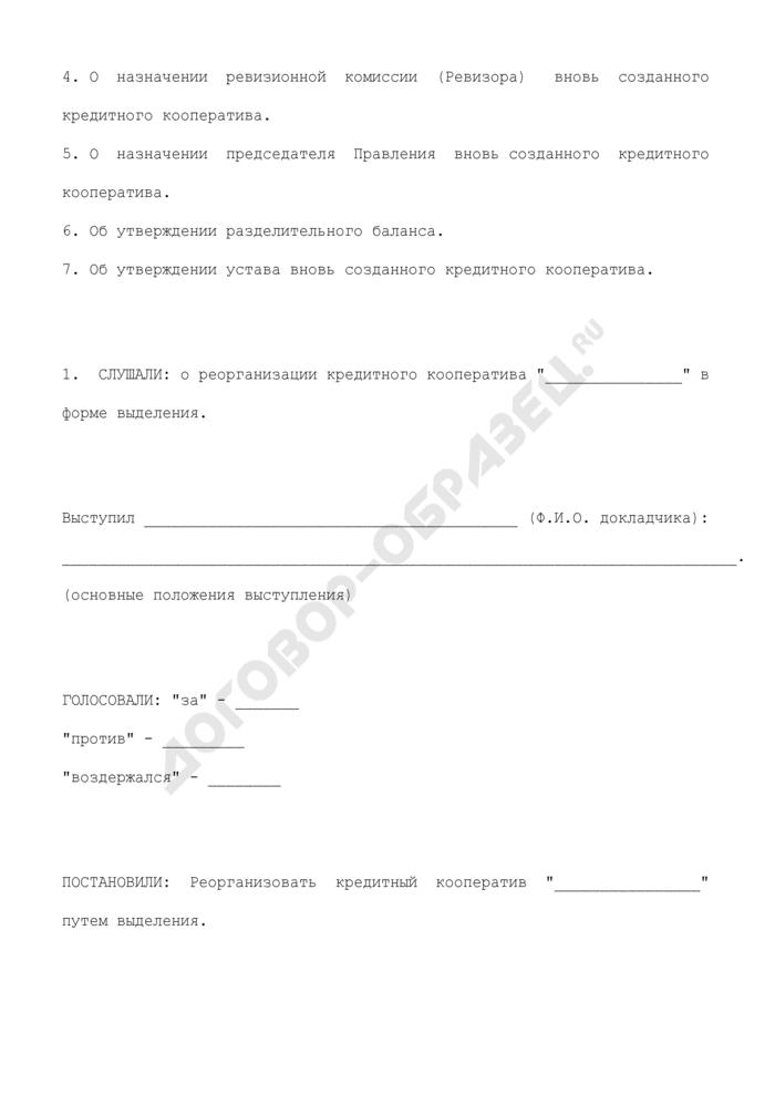 Протокол общего собрания членов кредитного кооператива о реорганизации кредитного кооператива в форме выделения. Страница 3