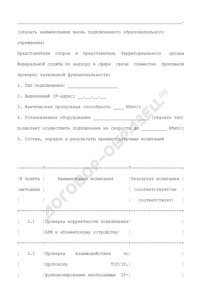 Протокол приемо-сдаточных испытаний по обеспечению доступа к сети Интернет. Страница 2