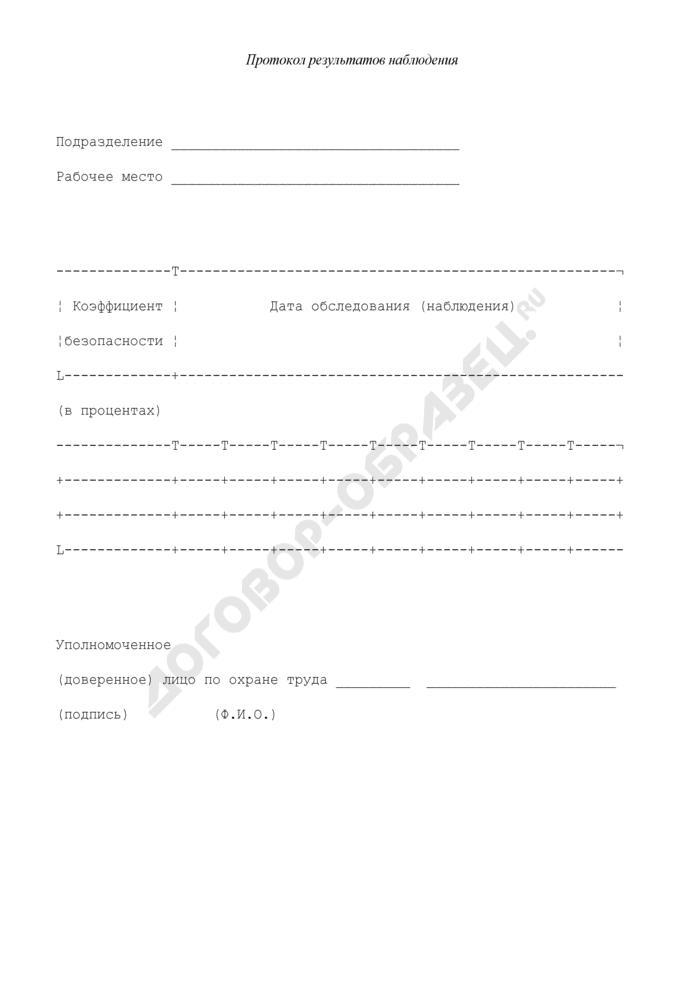 Протокол результатов наблюдения за условиями и охраной труда на рабочих местах. Страница 1