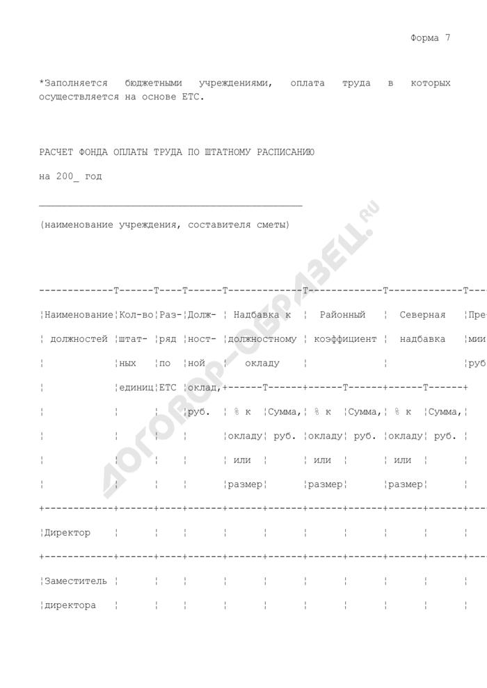 Расчет фонда оплаты труда по штатному расписанию бюджетного учреждения. Форма N 7. Страница 1